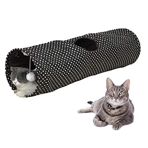 tackjoke Cama De Túnel Gato, Lavable Extraíble, Tienda De Juguetes Interactivos para Mascotas, Casa De Laberinto, Cachorro De Gato Y Gatito, 9.84 9.84 35.43in, Punto De Ola Negra