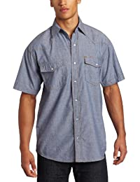 Key Apparel Men's Pre-Washed Blue Chambray Western Snap Short Sleeve Shirt