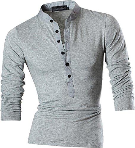 Jeansian Uomo Sport Estate V-NECK Manica Corta Tee Moda Men Casuale Slim Fashion T-Shirts D509 LightGray