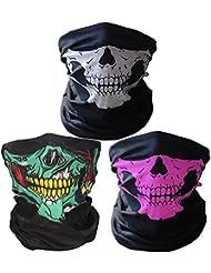 3 x Premium multifunción Bandana   Pañuelo con calavera de esqueleto Máscaras para moto bicicleta Esquí Paintball Gamer Carnaval Disfraz… (green/white/pink)