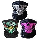 3x Premium Multifunktionstuch | Sturmmaske | Bandana | Schlauchtuch | Halstuch mit Totenkopf- Skelettmasken für Motorrad Fahrrad Ski Paintball Gamer Karneval Kostüm Skull Maske … (Weiß/Grün/Rosa)