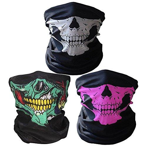 3x Premium Multifunktionstuch | Sturmmaske | Bandana | Schlauchtuch | Halstuch mit Totenkopf- Skelettmasken für Motorrad Fahrrad Ski Paintball Gamer Karneval Kostüm Skull Maske ... (Weiß/Grün/Rosa)