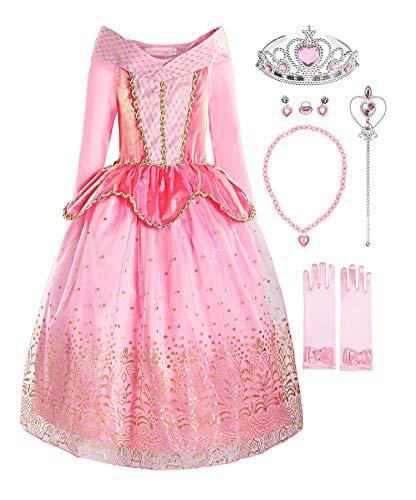 ReliBeauty Mädchen Prinzessin Aurora Kleid Kostüm, Pink(mit Zubehör), 90-100(Etikett (Ein Traum Wird Wahr Kostüm)