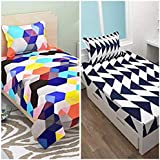 SINGHS MART Printed BEDSHEET Combo Of 2 Single BEDSHEETS With 2 Pillow Covers