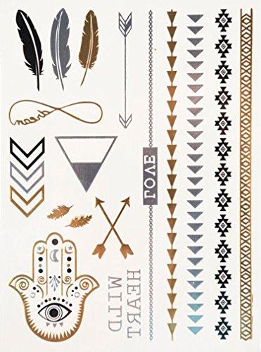 Flash Tattoo Wild Love im 3er Set - Federn Unendlichkeit Armbänder Fußketten Hand Pfeile - Temporäres Tattoo mit jeweils 17 Gold Silber Schwarz Motive - Original POSH Tattoo