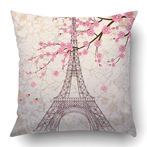 VANESSA Throw Pillow Covers Paris Vintage Eiffel Tower on Grunge France French Old Drawing Love Border City Polyester Square Hidden Zipper Decorative Pillowcase 20x20 inch (Tower Drawing-easy Eiffel)