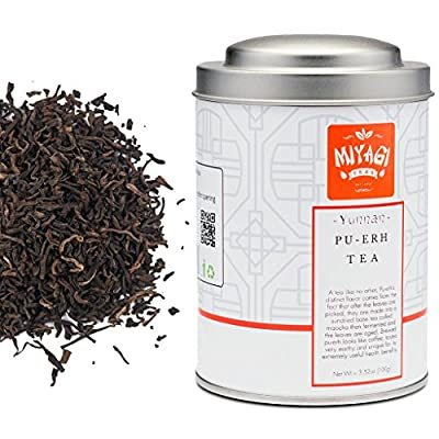 Miyagi Tea - Premium Yunnan Pu Erh Thé en vrac - 3,52oz (100g)/boîte en fer-blanc