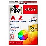 Doppelherz A-Z DEPOT Langzeit-Vitamine - Multivitamin-Nahrungsergänzungsmittel mit vielen wichtigen Vitaminen, Mineralstoffen & Spurenelementen - 1 x 40 Retard-Tabletten