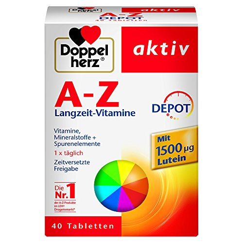 Doppelherz A-Z DEPOT Langzeit-Vitamine – Multivitamin-Nahrungsergänzungsmittel mit vielen wichtigen Vitaminen, Mineralstoffen & Spurenelementen – 1 x 40 Retard-Tabletten