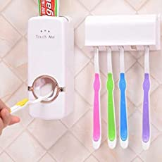 Leeonzi Toothpaste Dispenser Automatic with 5 Toothbrush Holder, Automatic Dustproof Toothpaste Squeezer and Toothbrush Holder Set, Hands Free Toothpaste Squeezer with Sticky Suction Pad for Family Washroom Bathroom, White