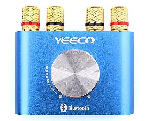 Yeeco Hifi Mini Bluetooth Amplificateur Stéréo, Amplificateur Audio Conseil Module, DC 12-24V 3-4A 30W + 30W Stereo Power Board, AMP Amplificateur Audio pour Car Speaker Tablet PC Portables TV Smartphone (Bleu)