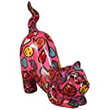 Pomme Pidou Spardose Cat Poppy | Originale Keramische spielende Katze Spardose | Rosa mit Emoji | Exklusives Geschenk mit Gratis Geschenkbox | Liebevoll Handgemacht