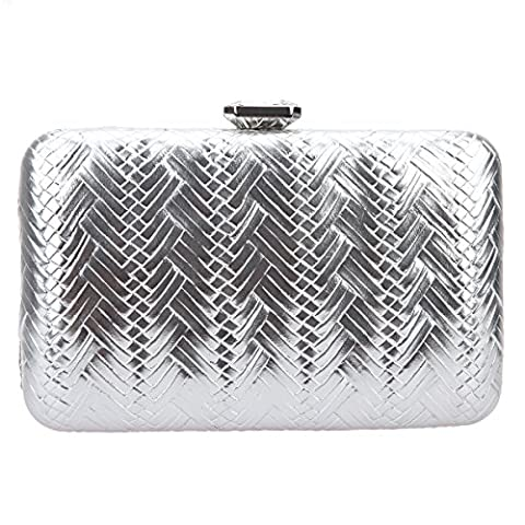 Bonjanvye Big Man Made Diamond PU Leather Weave Evening Bags And Clutches For Women Silver