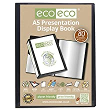 eco-eco A5 50% Recycelt 80 Taschen-Schwarz-Farbe Päsentationsdisplay Buch