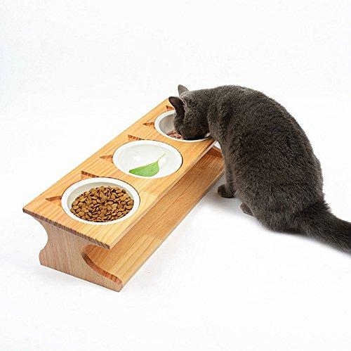 Smith chu premium elevated pet dog cat feeder in rilievo di ciotole, supporto in bambù con ceramica cibo ciotola-cute kitty ciotola per gatti e cucciolo (triple-bowl)