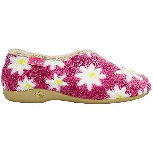 FANTASIA BOUTIQUE Sandales Dames Talon Bas Compensé Duveteux Chaude Marguerite Imprimé Floral Confortable Pantoufles Rose