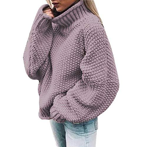 Dasongff Pullover Damen Rollkragenpullover Strickpullover Lässiges Stricken Pulli Winter Sweatshirt Oberteile Elegant (Gym Short Stricken)