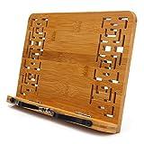 DIMJ Klappbare Bambus Kochbuchhalter, Kleine Größe, Einstellbare Leseständer für Kochbuch, Rezept, iPad, 28cm x 20cm x 4cm