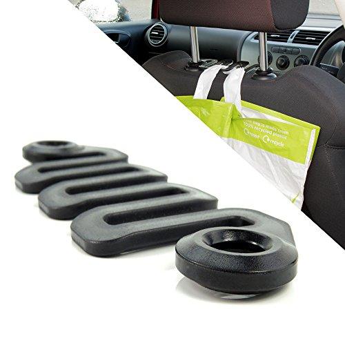 Wellenförmiger Kunststoff Haken für Autositz-Kopfstützen - Schwarz - Hangerworld