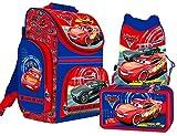 Schulranzen Schulrucksack Rucksack Disney Cars 3 AUTO Original Lizenz Ware mit Schuhbeutel Turnbeutel und Stifteetui mit Inhalt, 3teilig + cooles Hefteset.