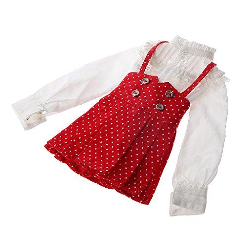 Vintage Chemisier et Jupe à Bretelles Vêtements pour Poupées 1/4 BJD LUT SD Décor - Rouge