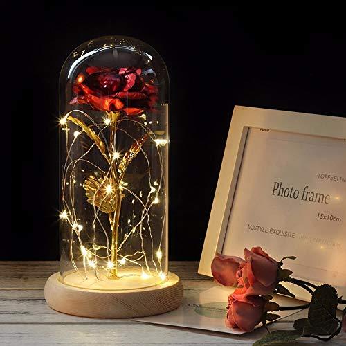 Rote Rose mit LED Lichterkette in Glaskuppel 24K vergoldetes Metall Blume Gold Folie Rose Künstliche Rose Geschenk für Valentinstag Muttertag Geburtstag Hochzeit Zeremonie Home Decor rot