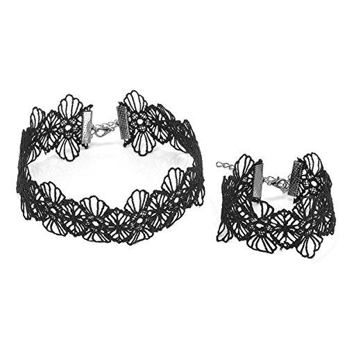 EAGLESTIME Retra Mujer Encantador Encaje Negro Flor Punk Gótico Collar + 1 Pulsera Regalo