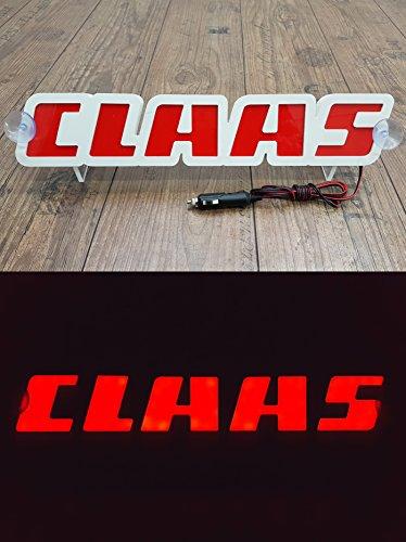 Preisvergleich Produktbild 3D 12V LED Leuchtschild für CLAAS Traktor Fahrer Rot Logo Schild Zubehör BELEUCHTUNG NUR VORWÄRTS - stört Sie nicht beim Fahren