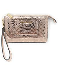 2d8dd8e236 Michael Kors Small Gusset Pocket Silver Leather Zip Top Wristlet - Soft Pink
