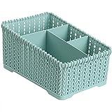 Jancery Desktop Cosmetics Hohl Aufbewahrungsbox mit Vier Gittern Organizer Box Case, Plastik, blau, 19 * 12.5 * 11CM