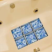 Weare Home Eiswürfel Muster Blau Farbe Serie von 6 Stück Deko Design Kreativ Anti Rutsch Sticker für Sicherheit Kinder für Badewanne, je Stück 14.5×14.5cm