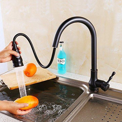 SDKIR-Amerikanische antike Küche Spüle Wasserhahn warmes und kaltes erstreckt sich Waschbecken Armaturen führender dunkel Kupfer ziehen (Küche Waschbecken Armaturen Moen)