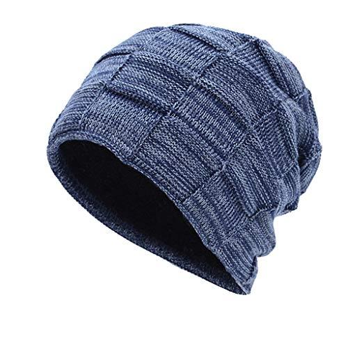 Nosterappou Einfache und stilvolle Unisex-Mütze, warme und Dicke Strickmütze, Reiten, Sport, Laufen, atmungsaktive und Bequeme elastische Mütze (Muster : ()
