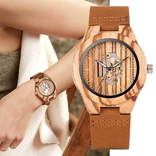 FANSWD Hölzerne Uhr Holzhohlkernuhr Quarz Holzuhren Lederarmbanduhr Damenuhren Uhr Damen Geschenke