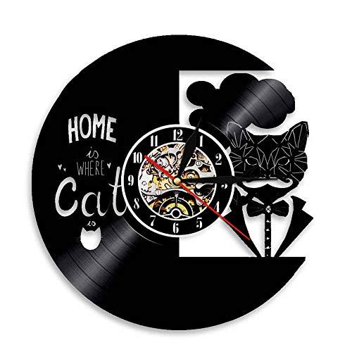 """ALEILA 12""""LED Black Vinyl Record Wanduhr Hauptkatzenthema Fernbedienung Hintergrundbeleuchtung Handgemacht Große Wohnkultur Kunst-erstaunliches Geschenk für Halloween-Weihnachten"""