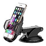Bovon Support Téléphone Voiture, Support Voiture Auto Universel Ventouse sur Pare-Brise et Tableau de Bord avec Bras Télescopique (Black)