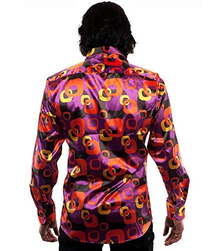 70er Jahre Muster Hippie Hemd lila bunt Mehrfarbig