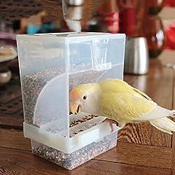 Jiamins Mangeoire à Oiseaux Automatique, Mangeoire Acrylique pour Oiseaux Conteneur de Nourriture pour Oiseaux - Transparent, fixé à l'extérieur ou à l'intérieur de la Cage