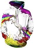 EUDOLAH Herren 3D Druck Sweatshirts Weihnachten mit Aufdruck Herbst Winter Hemd Langarm Top Jumper Shirt (Größe S/M, A-Regenbogen-Einhorn)
