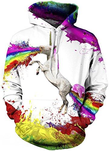 TDOLAH Herren 3D Druck Sweatshirts Weihnachten Pullover mit Aufdruck Herbst Hemd Kapuzenpullover Langarm Top Jumper Shirt A-Regenbogen-Einhorn