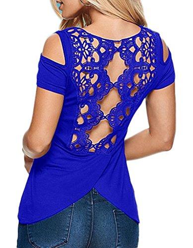 Smile YKK Sexy Ruckenfrei Damen Schulterfrei Kurzes Aermel T-Shirt Oberteil Blusen Tunika Schluppenbluse Blau