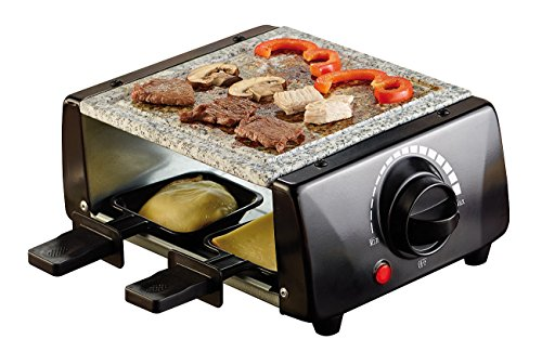 Rosenstein & Söhne Raclettgrill: Raclette mit Grillaufsatz und heißem Stein, für 4 Personen, 650 Watt (Raclette Grills heiße Steine)