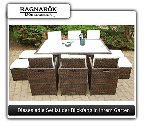 Gartenmöbel PolyRattan Essgruppe Tisch mit 6 Stühlen & 4 Hocker - 8