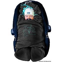 ByBoom® - Manta arrullo de invierno para bebé, es ideal para sillas de coche (p.ej. de las marcas Maxi-Cosi y Römer), para cochecitos de bebé, sillas de paseo o cunas; LA MANTA ARRULLO ORIGINAL CON EL OSO, Color:Antracita/Aqua