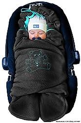 ByBUM - Baby Winter-Einschlagdecke'Das Original mit dem Bären', Universal für Babyschale, Autositz, z.B. für Maxi-Cosi, Römer, für Kinderwagen, Buggy oder Babybett, Farbe:Anthrazit/Aqua