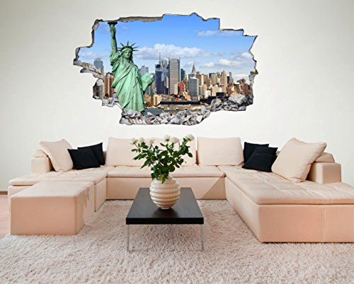 Freiheitsstatue USA 3D Look Wandtattoo 70 x 115 cm Wanddurchbruch Wandbild Sticker Aufkleber DesFoli © C097 (Usa Aufkleber Wandtattoo)