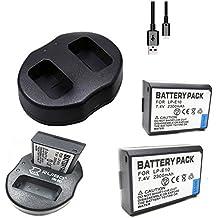 Heliomax 2x reemplazo batería LP-E10 LPE10 1200mah +dock cargador doble USB para Canon EOS 1100D 1200D