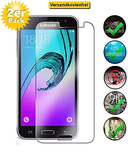 [2er Pack] Panzerglas für Samsung Galaxy J3 2016 gehärtetes Glas 9H, Echtglas Glasfolie Panzerglasfolie Panzerfolie Folie Displayschutz Displayschutzfolie von Smartphone-Equipment