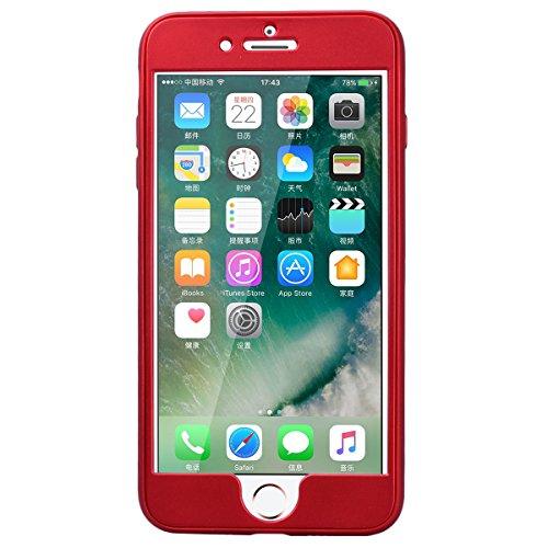 HB-Int Schutz Hülle für iPhone 7 Weich TPU Silikon Zurück + PC Hart Vorne Dünn Schutzhülle Gold Flexible Case Full Body Bumper Shell Handytasche Rot