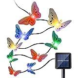 QederTEK 12 LED Cadena de Luz Solar con Diseño de Mariposa de Fibra Óptica para Exterior, Patio, Jardín, Terraza, Hogar